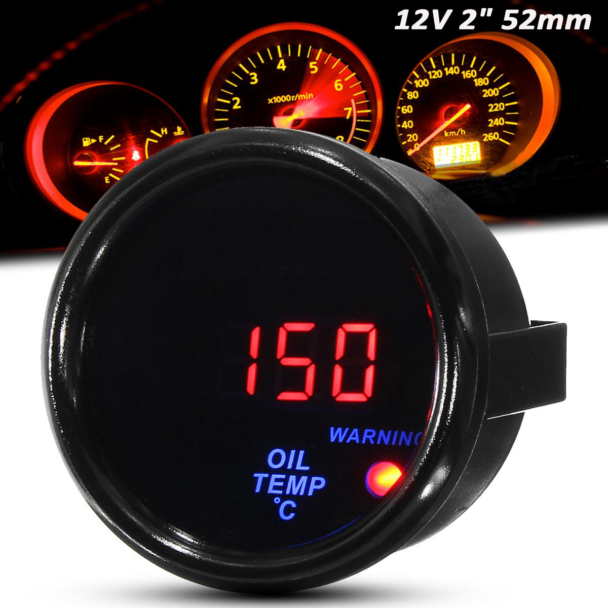 Medidor de temperatura de aceite 12V 2 pulgadas 52mm 20-140 pantalla LED Digital cara negra para coche con Sensor
