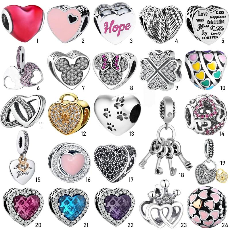 S925 Silver Charms Pendant Crystal Enamel Love Heart Shape Bead Fit Original European Charms Bracelet Chain Bangles Jewelry Gift
