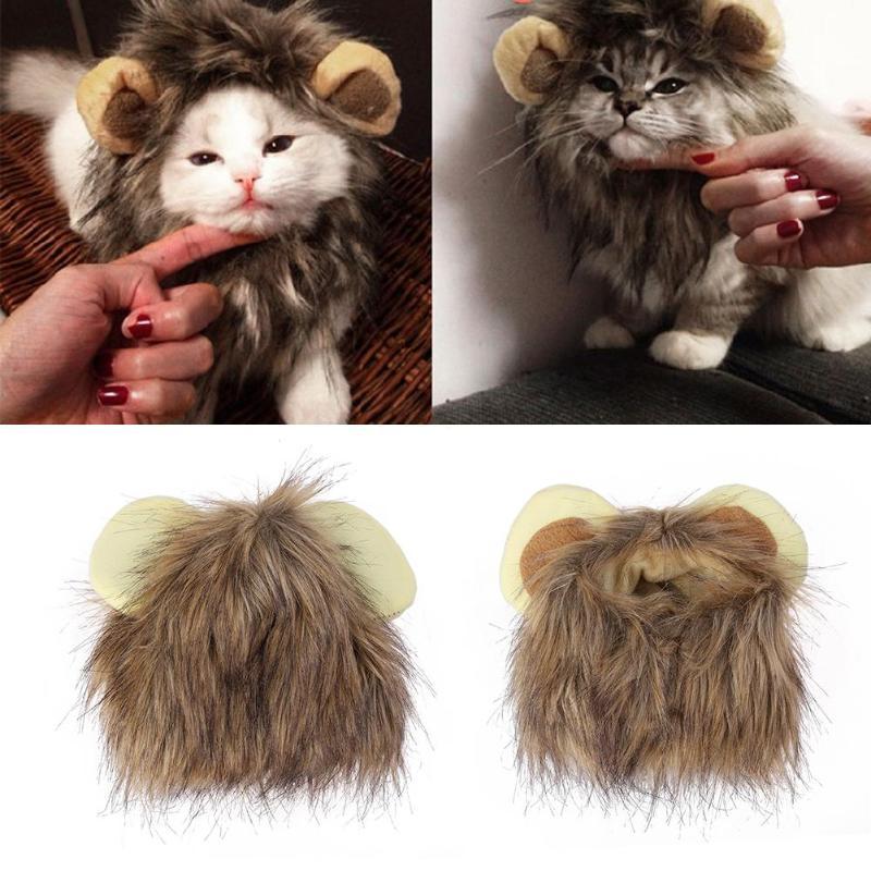 Шапка с ушками для головы кошки, собаки, эмуляции льва, осенне-зимний нарядный костюм, шарф-глушитель, подарки для домашних животных