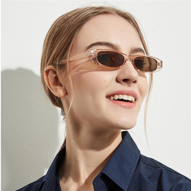 Fashion Vintage Rectangle Sunglasses Women Cat Eye Sun Glasses Luxury Brand Designer Ladies Small Fr