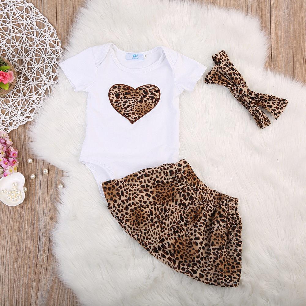 Топы для новорожденных девочек, комбинезон + леопардовая юбка + повязка на голову, комплект одежды из 3 предметов, лето 2019