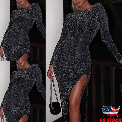 Mujeres Sexy vestido de mujer de moda de manga larga lentejuelas vestido brillante fiesta cuello noche Midi vestido Clubwear