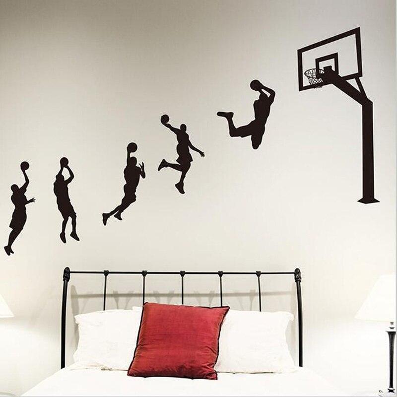 Vinilo adhesivo para pared de jugadores de baloncesto, pegatinas de pared hechas a mano para niños, habitaciones de guardería, pegatinas deportivas de decoración para habitación de chicos H008