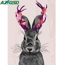 AZQSD DIY Ölgemälde Durch Zahlen Tiere Hand Bemalte Leinwand Moderne Wand Bild Home Dekoration Niedlichen Kaninchen Wand Kunst K452