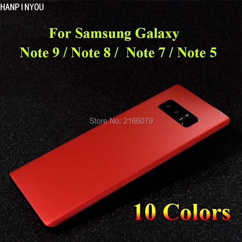 Para Samsung Galaxy Note 9 8 7 5 funda trasera de aluminio pegatina de imitación de Metal mate Protector de pantalla de hielo película protectora