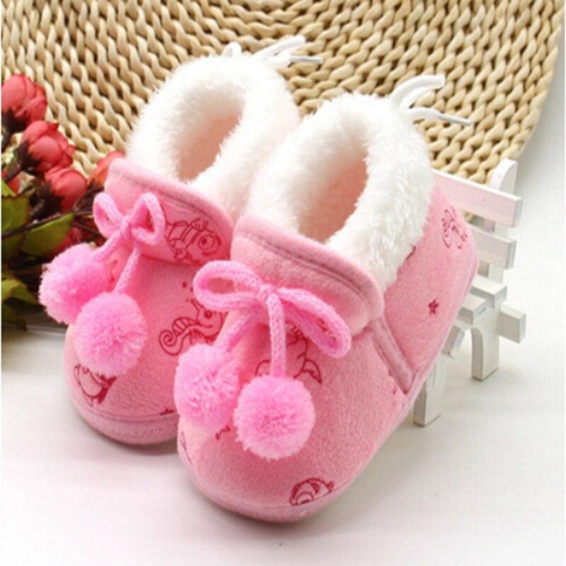 Boule de cheveux solide en peluche   Nouveau-né, bébés filles, bottes chaudes, semelle souple, décontracté hiver