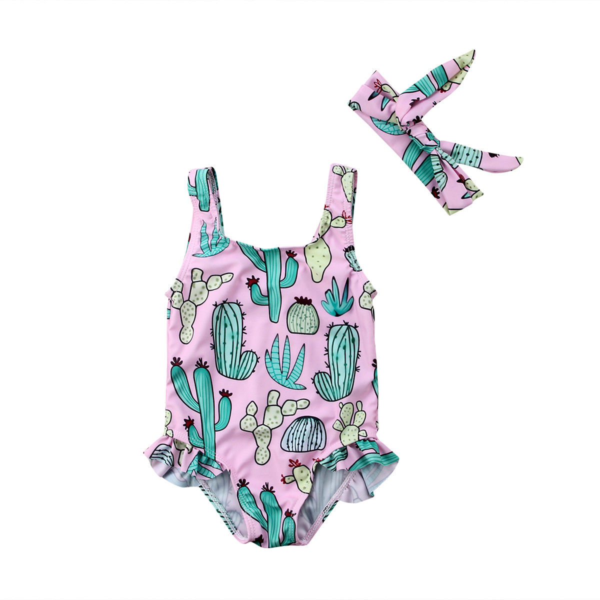 Traje de baño de verano para niño recién nacido de 0-3 años, traje de baño con dibujo con Cactus, ropa de playa, Pelele con diadema, 2 uds. De ropa Infantil para niñas