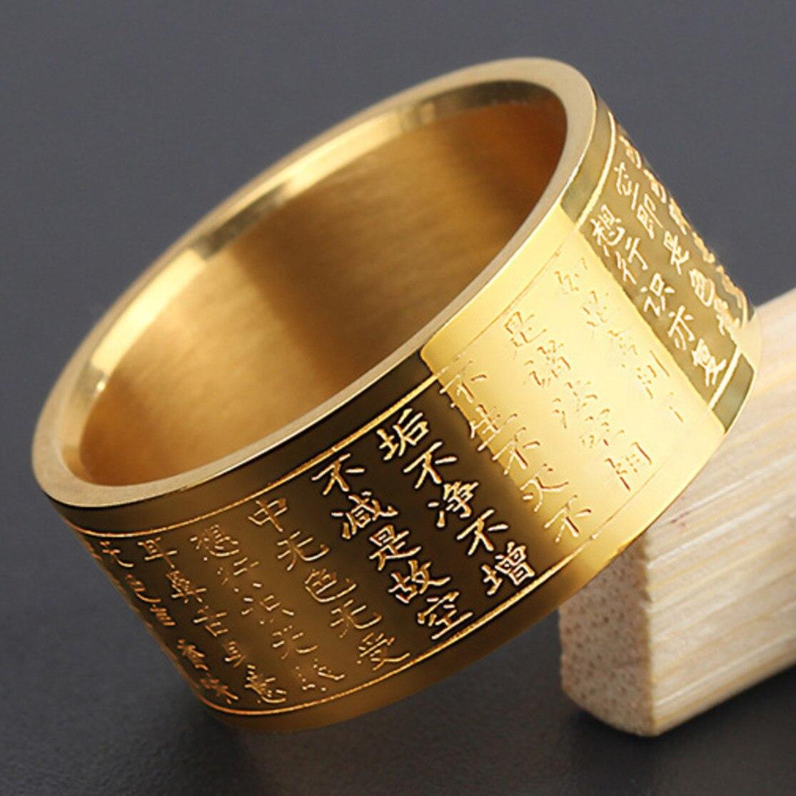 Anillo tamaño 14 Buddha escrituras hombres Prajna Paramita Acero inoxidable Unisex anillo dedo banda budista corazón Sutra anillos para mujeres