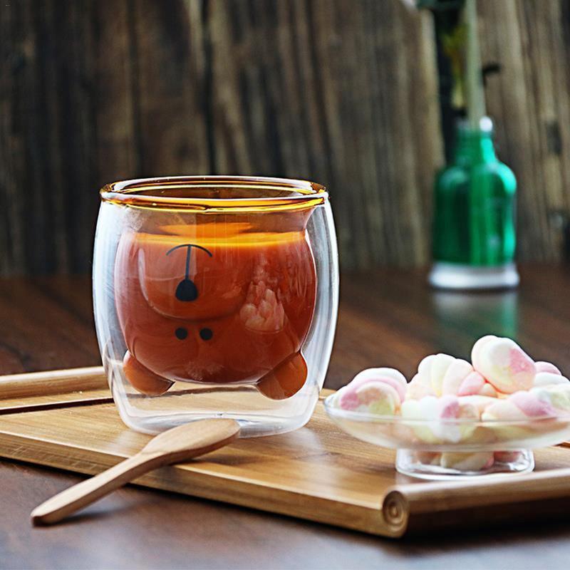 Adorable Panda taza de vidrio de doble capa innovadora cerveza creativa mañana leche jugo vidrio transparente resistente al calor taza de café