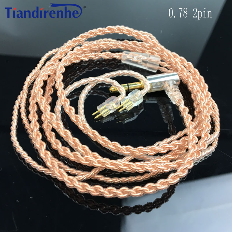 Nowy 0.78mm 2 Pin różowe złoto pojedyncze miedziane z kryształami Upgrade Cable dla Weston 1964 UE3X UE18 W4R słuchawki zestaw słuchawkowy do iphonea xr