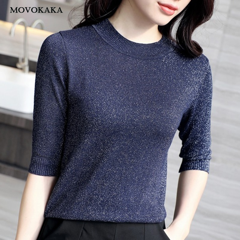 Spring Autumn Shiny Lurex Knit Sweater Women Cropped Short Sleeve Fashion Women Sweaters And Pullovers O-Neck Sweater Ladies Top