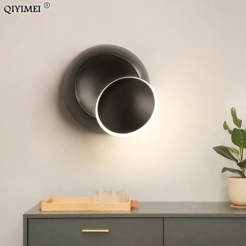Lámparas de pared cuerpo blanco negro para el dormitorio sala de estar 90-260V Luz de pared Led de interior lámpara de pared Metal chapado giratorio 5W Led Sconce
