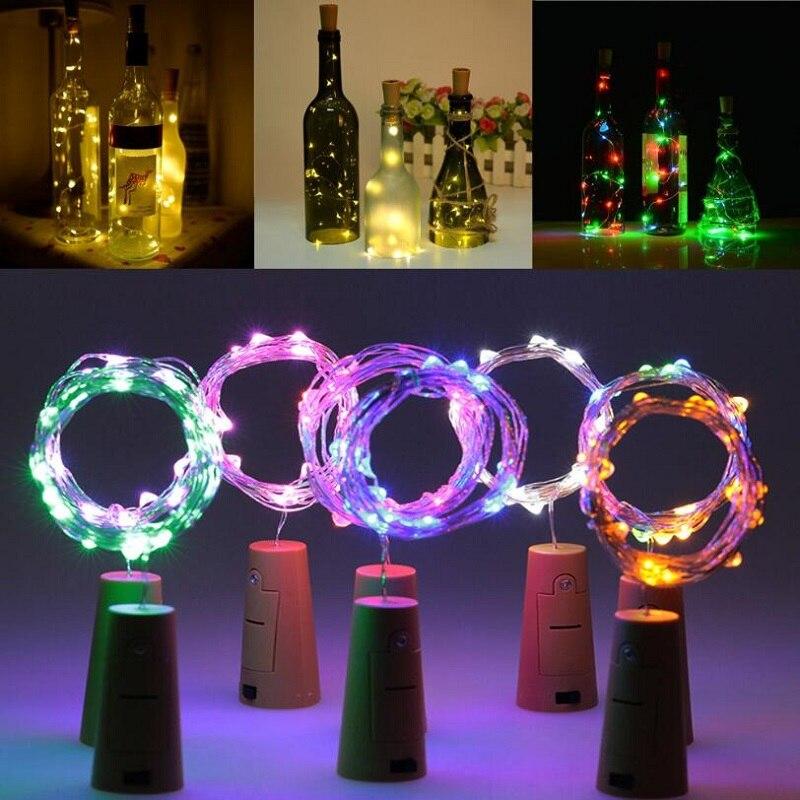 10 20 30 luces LED para botellas de vino, guirnalda con forma de corcho, guirnaldas navideñas de luces DIY para decoración de boda, Halloween de fiesta