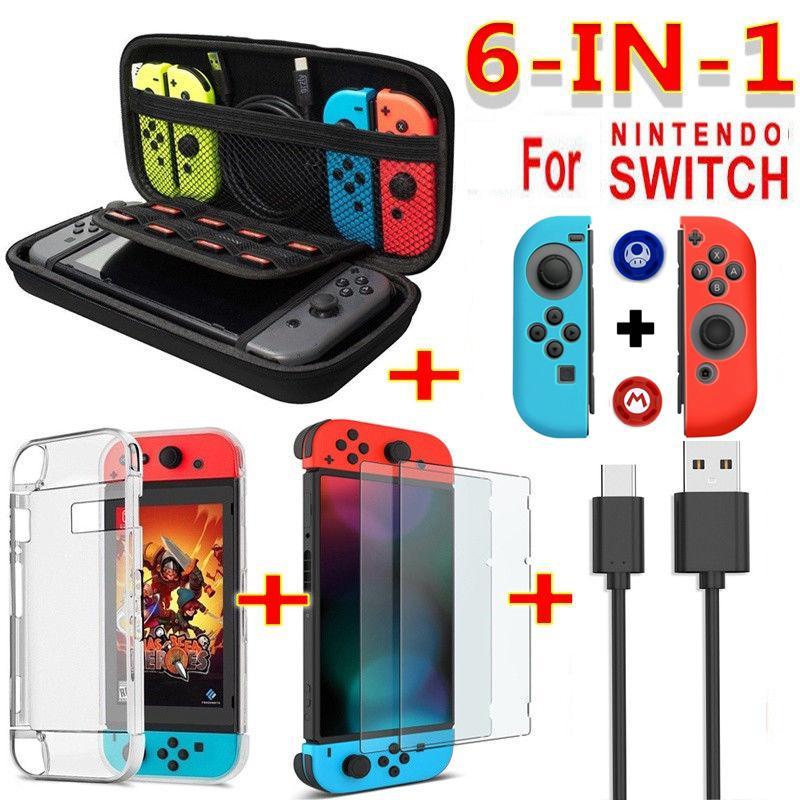 Gran oferta 6 en 1 Juego de accesorios conjunto negro rojo azul para Nintendo Switch viaje bolsa de transporte Protector de pantalla funda Cable de carga