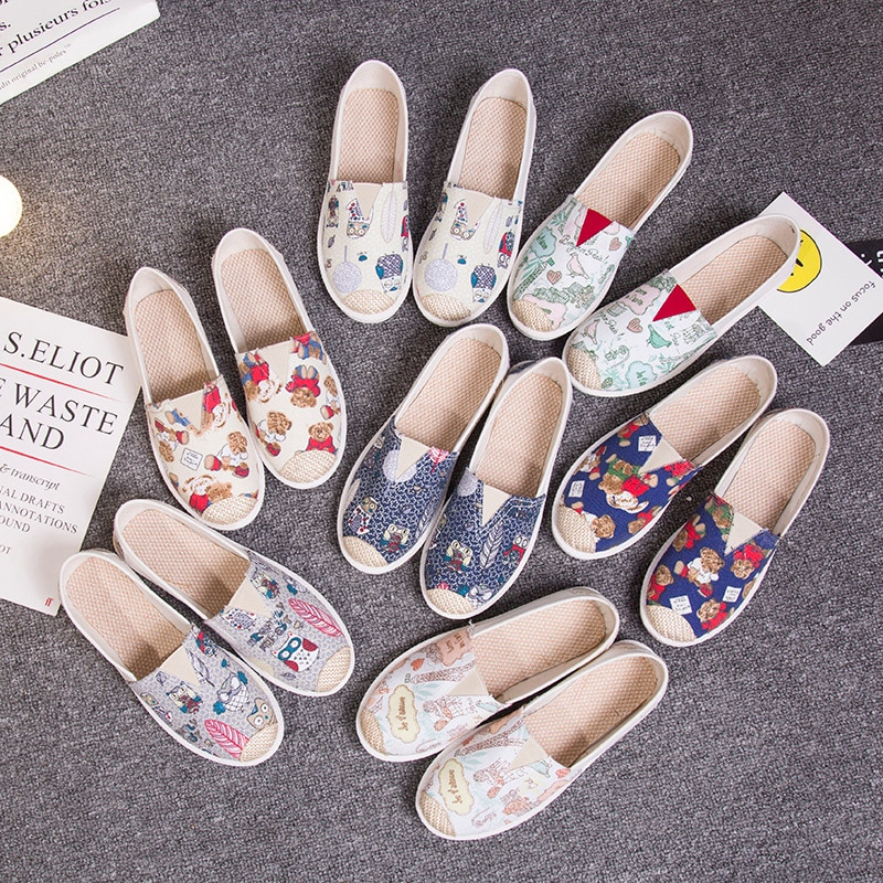 Otoño mujeres mocasines zapatos alpargata Graffiti comodidad plataforma plana Creepers zapatos Slip On Zapatos Mujer Zapatos dama calzado
