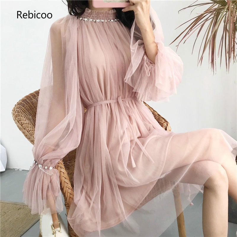 Primavera estilo coreano elegante malla rebordear Girl vestidos base Bodycon dulce rodilla-longitud sólido vestidos Flare manga