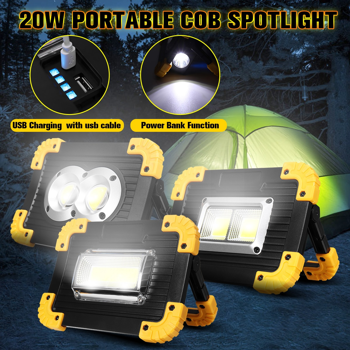 20 W proyector portátil COB LED luz de trabajo reflector 18650 USB recargable al aire libre punto de luz banco de energía para Camping caza