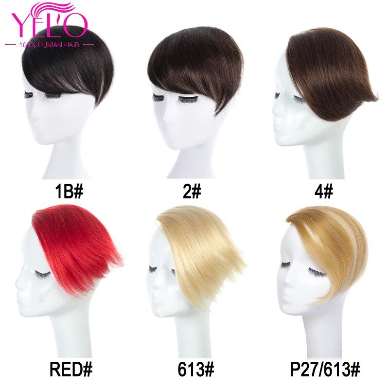 YELO перуанские человеческие волосы для наращивания с челкой remy на заколках 1b #2 #4