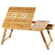 Bureau dordinateur portable réglable avec ventilateur de refroidissement USB support de portable pliable en bambou support canapé-lit bureau table dordinateur portable en bois HW12