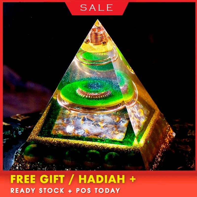 AURA REIKI Orgonite Aura Crystal Pyramid Feng Shui Decoration Crafts Accumulate Wealth Energy Converter Resin Decorative Jewelry