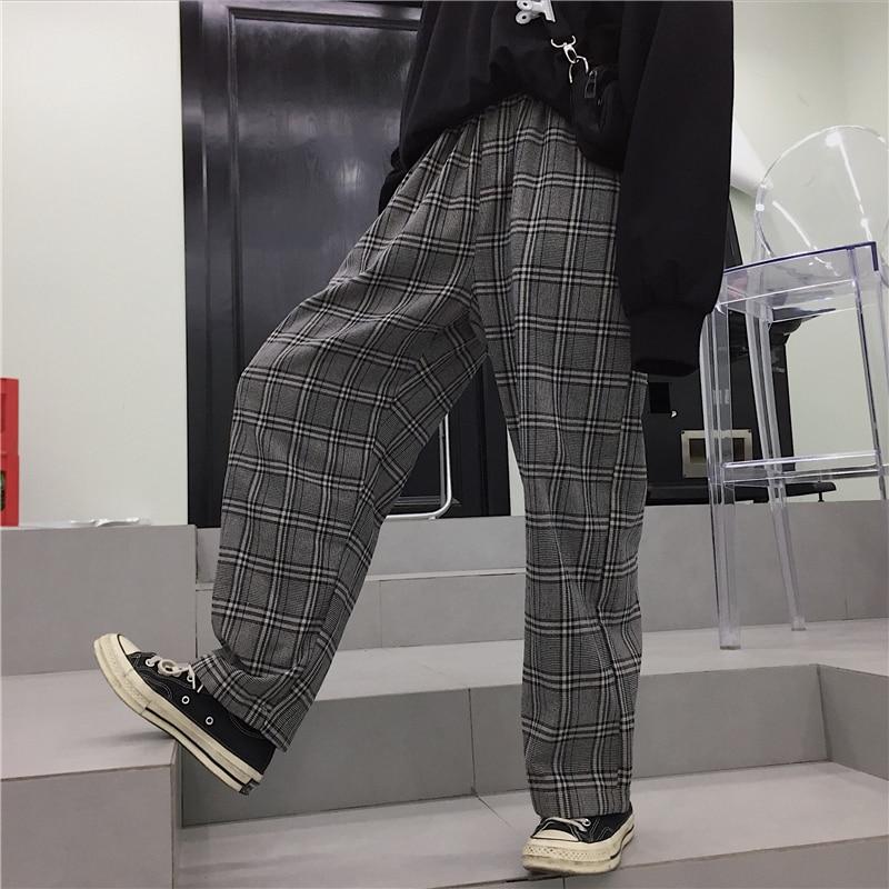 2019 Summer Loose Pants Women Fashion Plaid Streetwear Trousers Female Casual High Waist Woman Wide Leg Pants Joggers Sweatpants