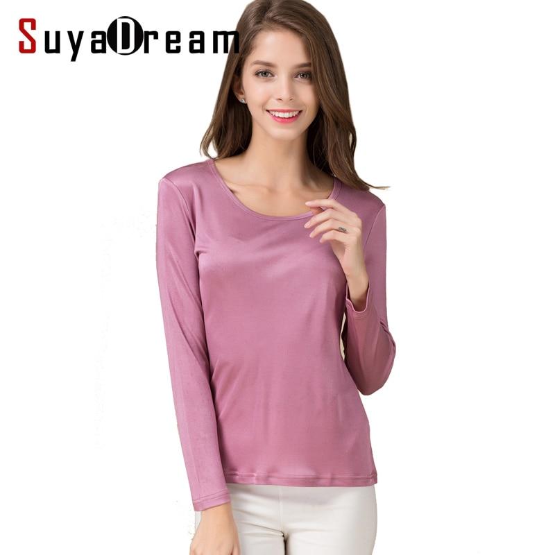 Camiseta de mujer 100% base de seda Natural camisa de manga larga cuello redondo 2019 otoño blanco nuevo negro camisa de fondo