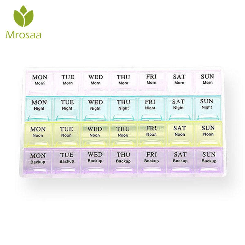 28 dias Slots Mini Pill Box Organizer Tablet Titular Weekly Pill Organizer Medicina Container Caso Organizador Para Viagens Mensais