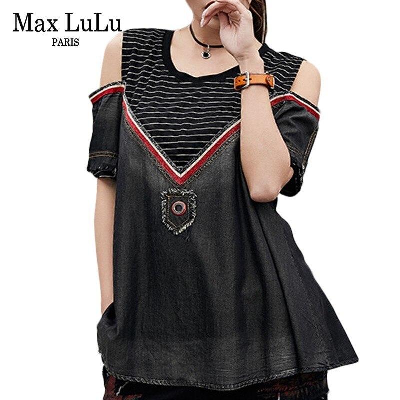 Max Lulu, moda de verano, Camisetas coreanas con hombros descubiertos para Mujer, Camisetas vaqueras para Mujer, Camisetas Punk Casual Jeans, camiseta