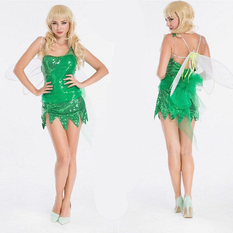 Adulto verde bosque Hada duende traje de Tinkerbell mujeres Sexy Pretty Pixie Cosplay vestido de lujo