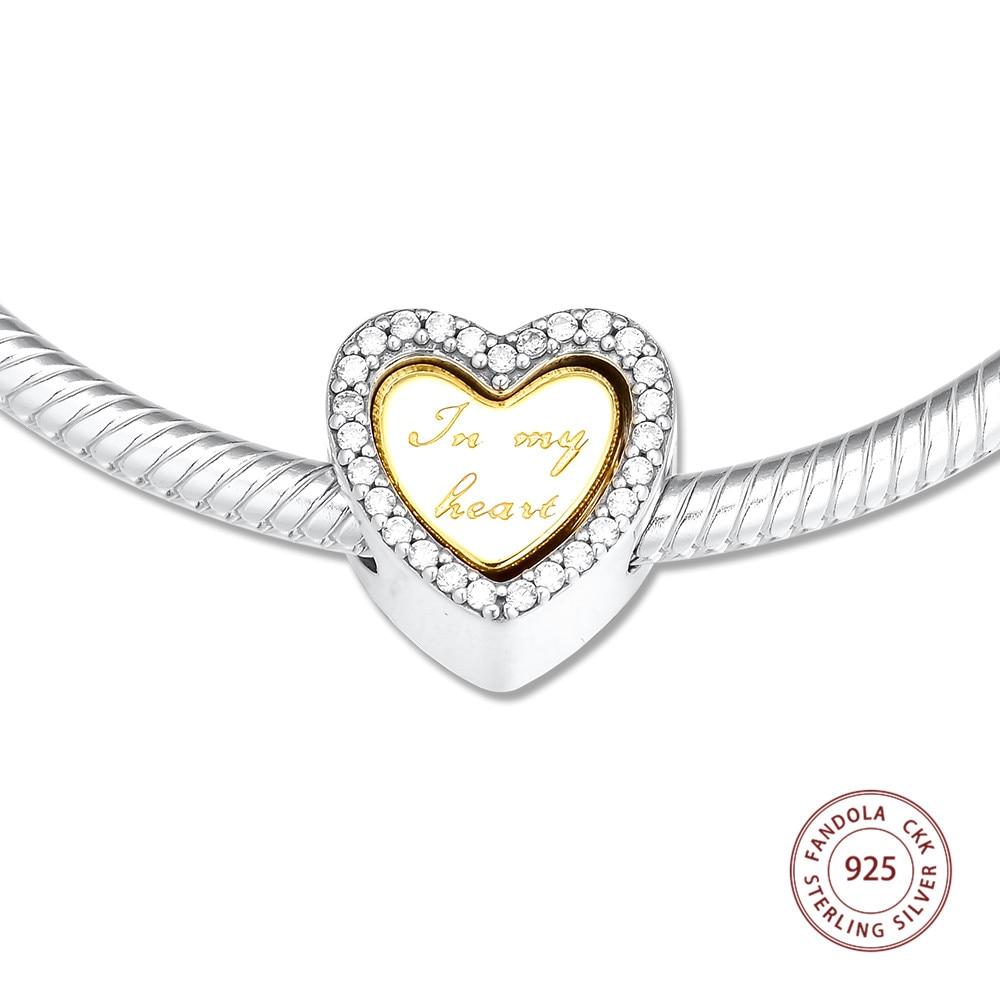 CKK Fits Pandora Bracelet 925 Sterling Silver Clear CZ In My Heart Charm Beads Women Jewelry Making perles bijoux femme