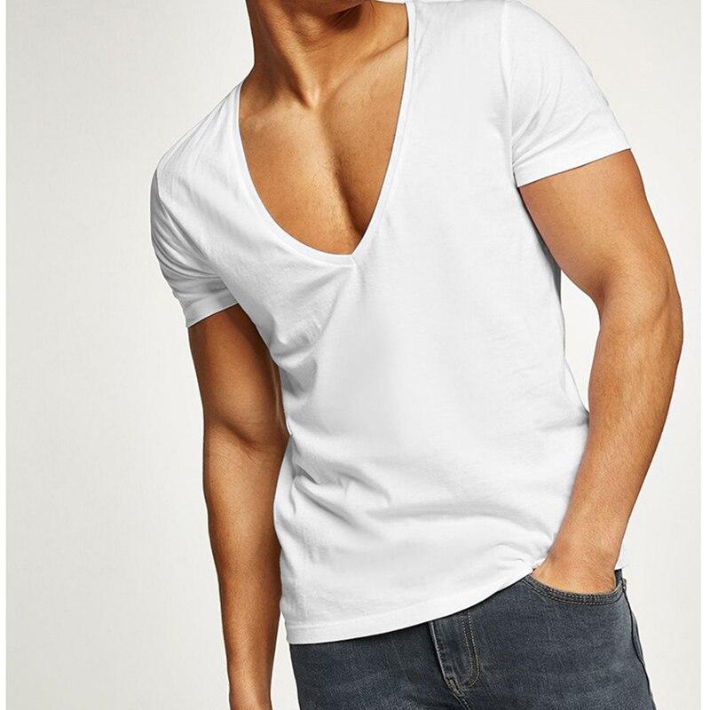 Мужская футболка на молнии, белая, с глубоким вырезом, летняя, 2019