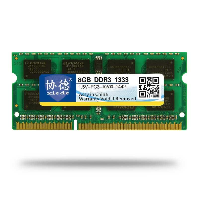 Módulo de memoria Ram para ordenador portátil Xiede Ddr3 1333 Pc3-10600 204Pin Dimm 1333Mhz para Notebook