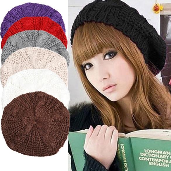 Fashion Warm Winter Women Beret Knitted Baggy Beanie Hat Multicolor Ski Cap  HSJ88