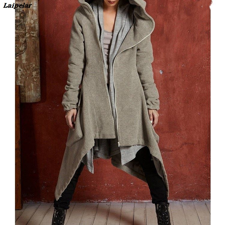 New Arrival Women Hooded Thin Trench Autumn Winter Pockets Long Outerwear Solid Casual Long Sleeve Asymmetrical Coats Laipelar