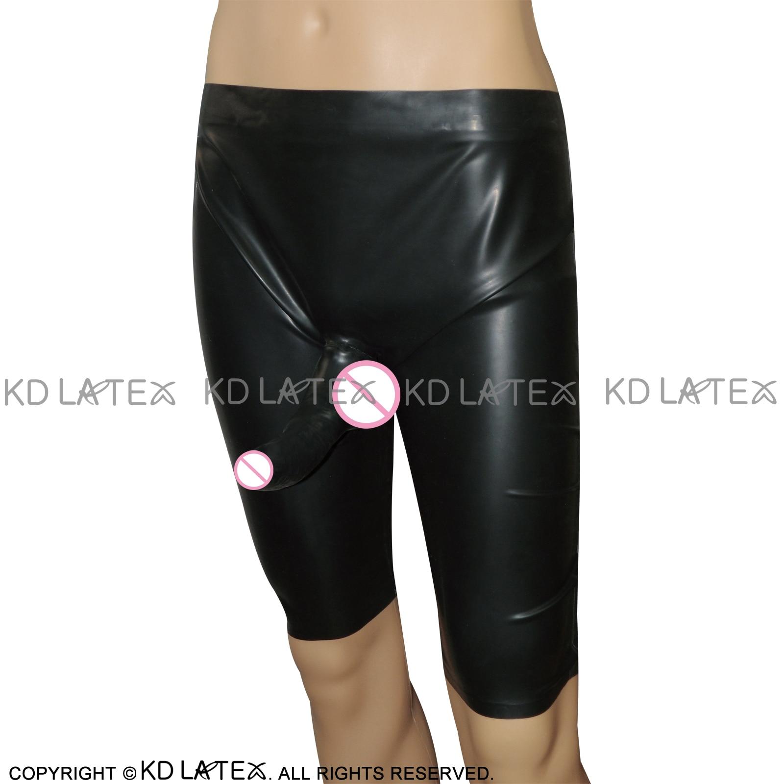 Black Latex Long Leg Boxer Shorts With Anatomical Penis Sheath Rubber Underwear DK-0027