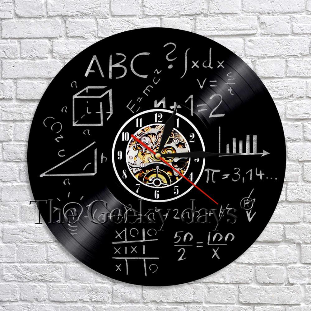 Math Science Vinyl Wall Clock Handmade Art Decoration Math Formula Room Kitchen Bedroom Decor Gift For Math Enthusiast
