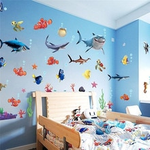 Nuevo hallazgo, adhesivo para pared de peces de tiburón Nemo, diseño creativo marino, sueño, baño, adhesivo para mural de pared, calcomanías para decoración de Chico, pegatina divertida