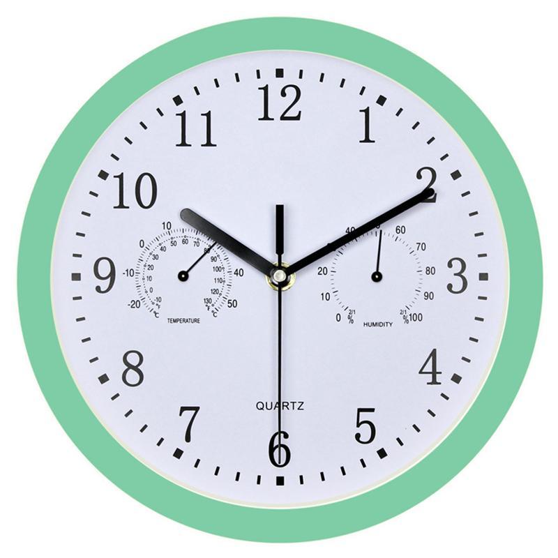 1 reloj de pared con higrómetro con batería precisa, reloj colgante sin tic-tac para casa, jardín, piscina, Oficina
