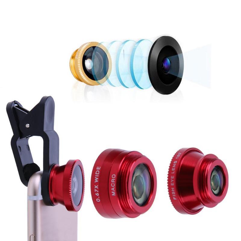 Lente Universal 3 en 1 para teléfono móvil, ojo de pez, gran angular, Macro objetivo para cámara, Kit de objetivo con Clip, funda para cámara de teléfono móvil