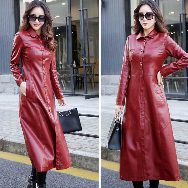 Red Long Windbreaker 5XL Parka Women PU Leather Jacket Overcoat 2018 New Autumn Fashion Faux Sheepskin Leather Female Coat PJ328 enlarge