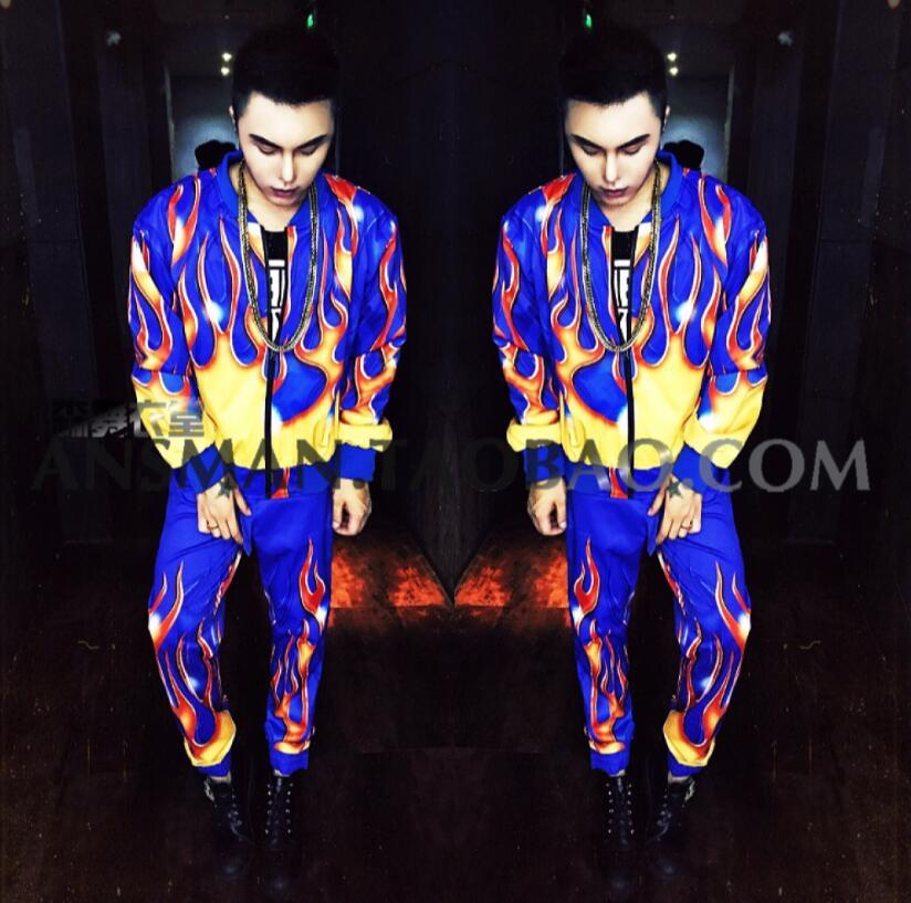 Bar cantante DJ de discoteca DS Europa chaquetas de moda de manga larga llama azul hip-hop ropa de béisbol suelta hombres traje