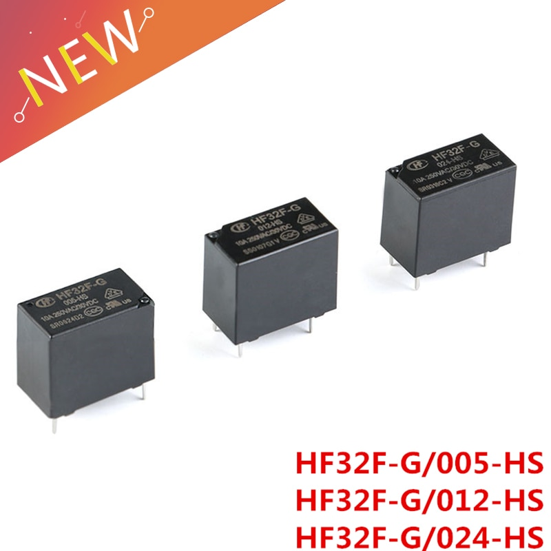 2 unids/lote 5V 12V 24V Relés de Potencia HF32F-G JZC-32F-005-HS JZC-32F-012-HS JZC-32F-024-HS 10A 250VAC 4PIN