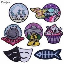 Prajna 만화 펑크 패치 의류에 대한 낯선 것들 패치 바느질 물고기 음과 양 해골 케이크 스티커 새로운 디자인 H