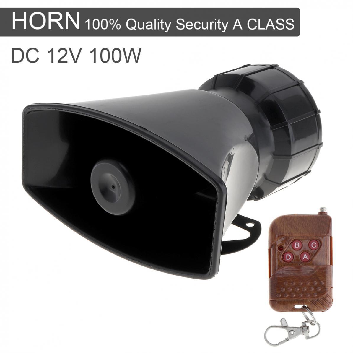 12V 100W 7 sonido de alarma de advertencia de coche, bocina sirena de fuego de policía, altavoz con mando a distancia inalámbrico marrón