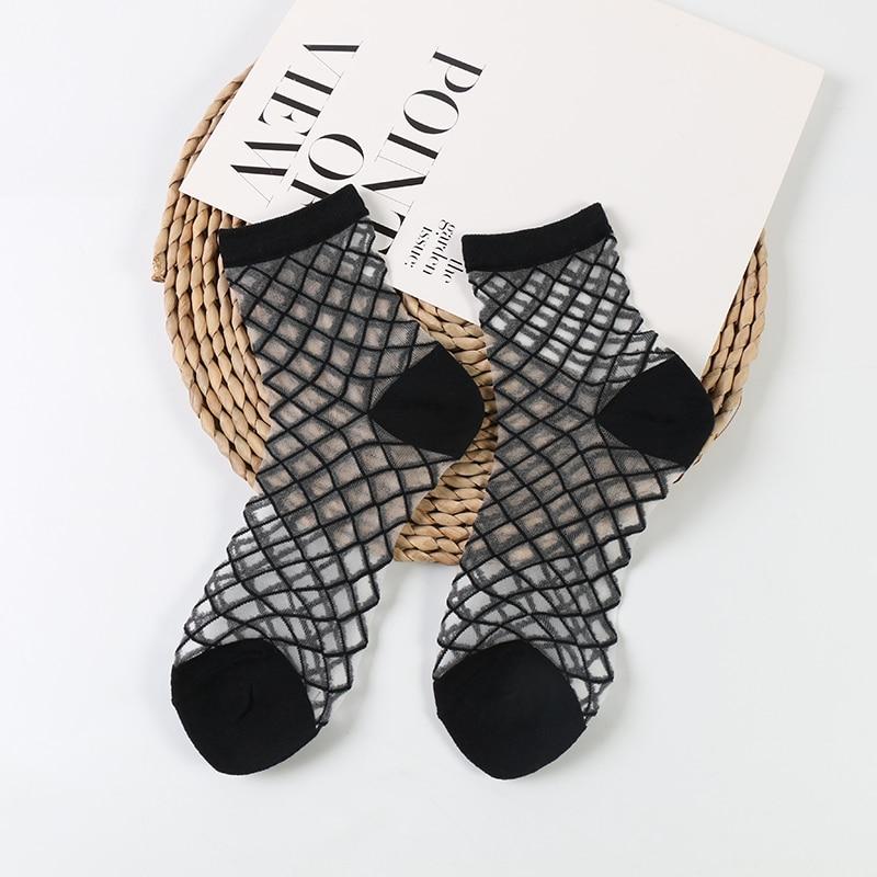 DONG AI Venta caliente Hipster Hatijuku tobillo fino Mujer moda cristal transparente calcetines cortos Mujer arte de verano