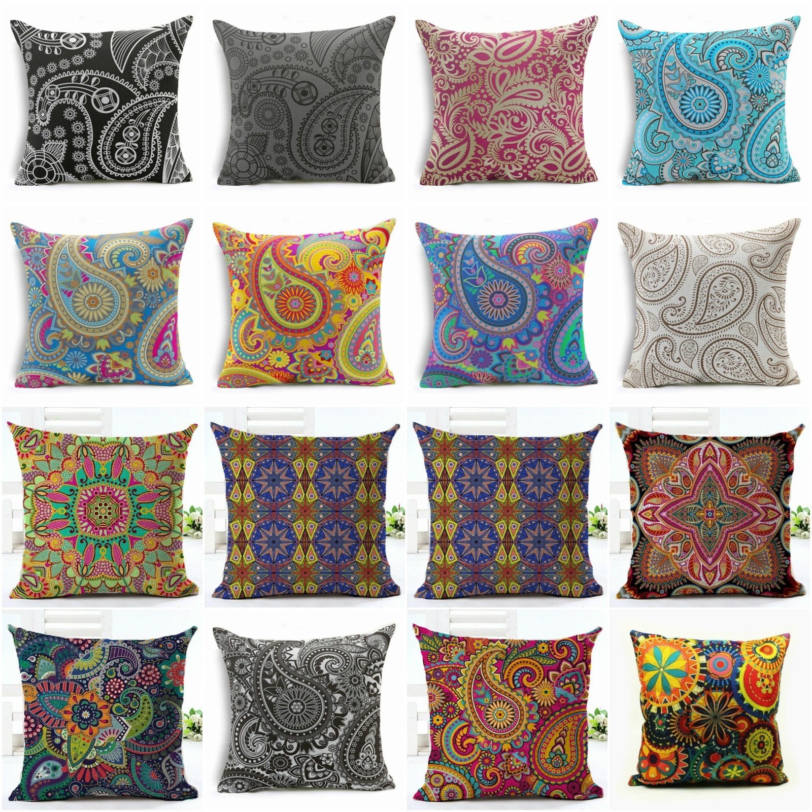 HGLEGYW bohemio geométrico Paisley funda de almohada Throw funda de algodón de lino fundas de almohada impresas Oficina hogar textil