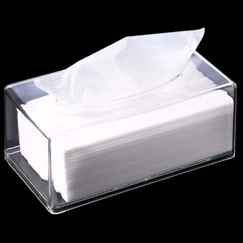 Transparent Tissue Box Rectangular Tissue Storage Box Acrylic Plastic Tray For Home Office Car KTV Hotel Tissue Storage Box
