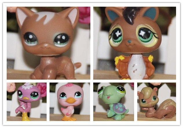 10 pçs/lote Q brinquedos do animal de estimação, animal de estimação modelo boneca de plástico lagoa/ornamentos-Littlest Pet Shop 4-5cm