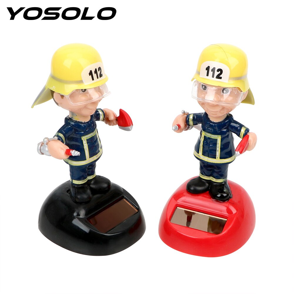 YOSOLO Firemen Shape Car Ornament Solar Powered Dancing Toy Auto Accessories Swinging Dashboard Decoration