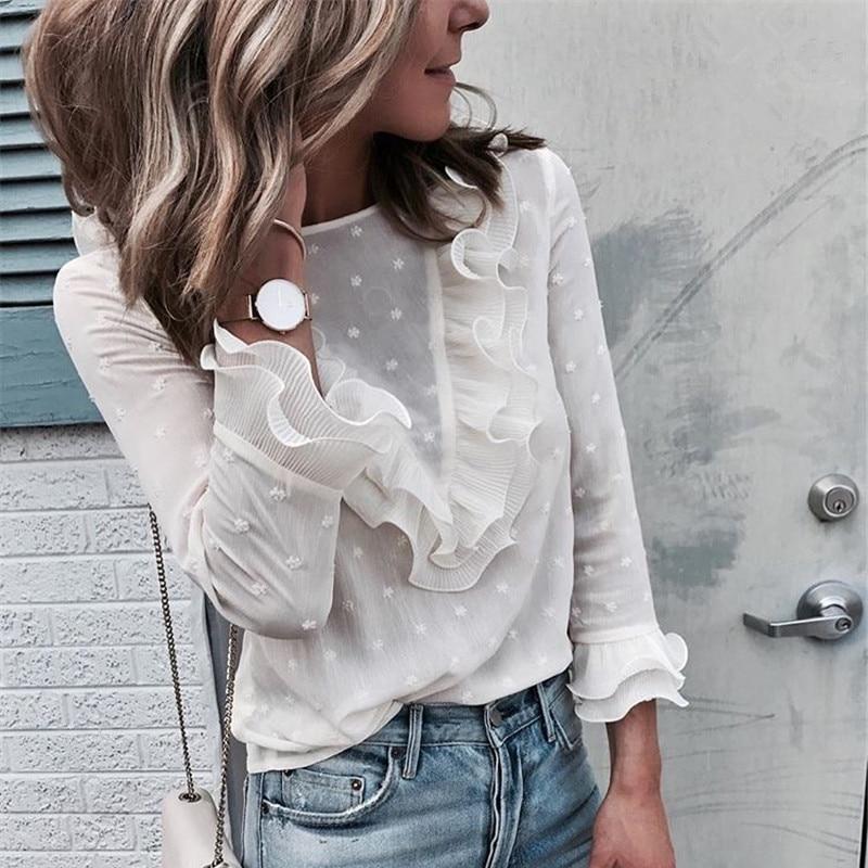 hirigin Plus Size Womens Blouse Ladies Ruffle Frill Long Sleeve Perspectived Casual High Street Top Polka Dot Shirt Blouse S-XL